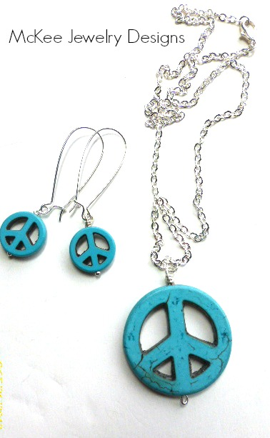 Peace sign necklace turquoise stone pendant sterling silver chain peace sign necklace turquoise stone pendant sterling silver chain hippie boho bohemian jewelry earrings included audiocablefo