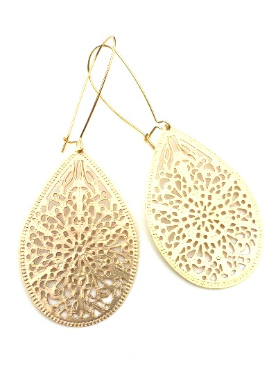 Kidney Ear Wire Gold Filigree Earrings Dangle Jewelry Hoop Metal Boho Bohemian