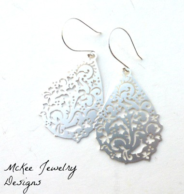 Silver Matte Filigree Teardrop Shape Earrings Engraved Birds And Flowers Handmade Jewelry Jewellery Bohemian Boho