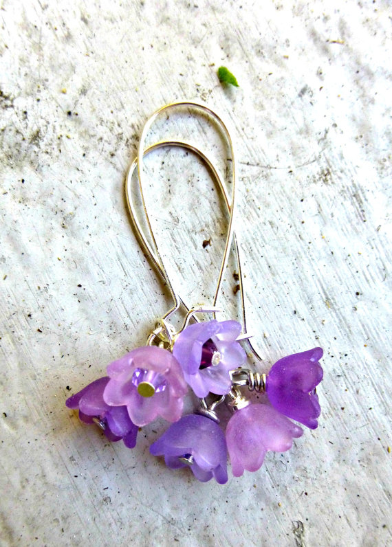 Purple flower earrings bell flower frosted flowers wedding spring purple flower earrings bell flower frosted flowers wedding spring summer jewelry flower jewelry earrings silver purple mightylinksfo