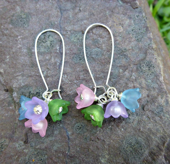 Bell frosted flowersspring summer jewelry flowers and silver bell frosted flowersspring summer jewelry flowers and silver earrings pastel colors blue pink purple green mightylinksfo